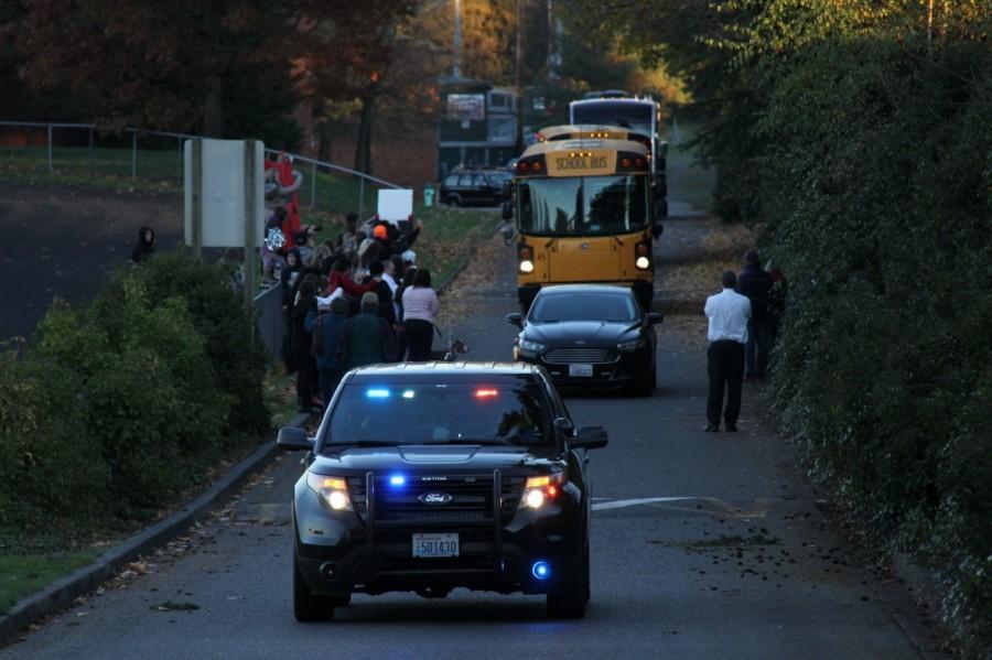 PHOTOS: Hawks receive police escort to tonight's game