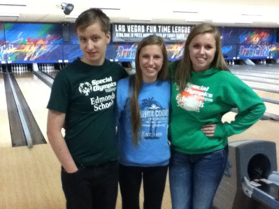From Left to Right: Jack Baker stands with two of his  friends, Brittany Kinsella and Morgan Arbuckle after taking fourth place at the Special Olympics State Tournament for Bowling last fall.