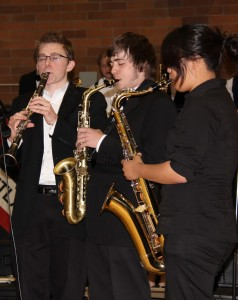 Forest Jackson (center) playing at the June 2011 arts assembly with other members of the 2011 Jazz 1.